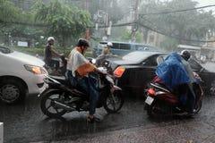 大雨,雨季在胡志明市 库存图片