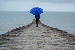 大雨击中了德文郡,破坏假日的英国 免版税库存照片