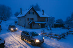 大雪在阿讷西法国 免版税库存图片