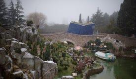 大雪的迪斯尼乐园巴黎 免版税库存图片