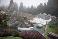 大雪的迪斯尼乐园巴黎 库存图片