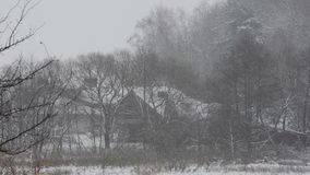 大雪(风暴),飞雪 大雪,一个被放弃的房子 影视素材