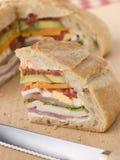 大面包三明治充塞了 库存照片