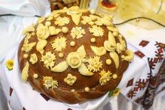 大面包乌克兰婚礼 库存图片