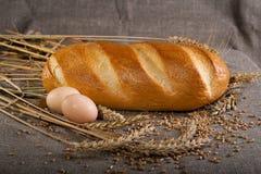 大面包用鸡蛋 库存照片