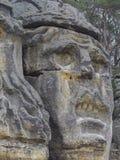 大面孔恶魔头在19世纪雕刻了由Vaclav征收 免版税库存图片