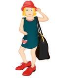 大鞋子和帽子的小fashionista 皇族释放例证