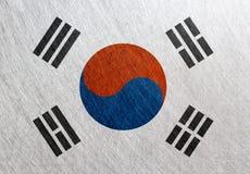 大韩民国旗子,葡萄酒,减速火箭,被抓 免版税库存图片