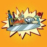 大食物盘子用酒和晚餐 库存例证