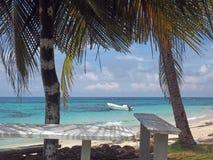 大马伊斯群岛,尼加拉瓜渔船加勒比海萨莉豌豆 免版税库存图片