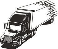 大高速公路船具加速的卡车 库存照片