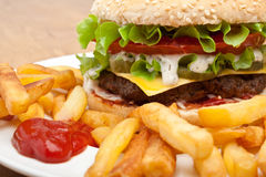 大鲜美乳酪汉堡 免版税库存照片