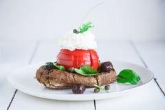 大麦面包干dakos,冠上用希腊白软干酪、蕃茄立方体、橄榄油和牛至,希腊开胃菜 免版税库存图片