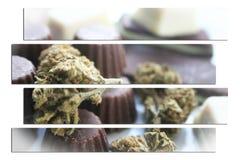 大麻与优质的芽的巧克力艺术Edibles 免版税库存图片