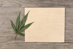 大麻叶子和花与工艺白纸在老难看的东西木背景 顶视图 Minimalistic大模型 图库摄影