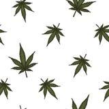 大麻离开无缝的传染媒介样式 大麻植物绿色背景 免版税图库摄影