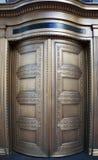 大黄铜旋转的银行门紧密 库存照片