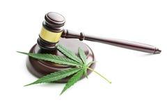 大麻叶子和法官惊堂木 免版税库存照片