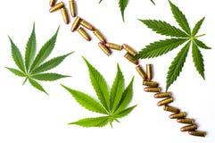 大麻叶子和被隔绝的金属子弹 免版税库存照片