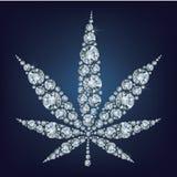 大麻叶子由金刚石做了很多 免版税库存图片