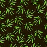 大麻叶子 刺绣 手拉的传染媒介无缝的样式 免版税库存图片