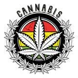 大麻和杂草叶子商标设计  免版税库存图片