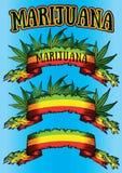 大麻大麻ganja牙买加旗子丝带广告牌 库存图片