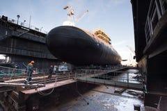 大柴油电动潜水艇 免版税库存图片