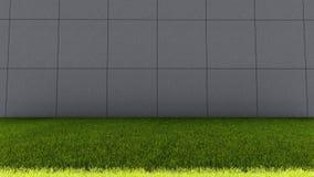大水泥砖墙和绿草地板 免版税库存照片