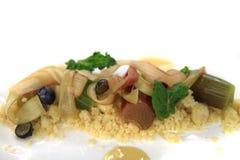 大黄点心用蓝莓,杏仁,甜薄菏 免版税图库摄影
