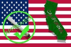 大麻背景的加利福尼亚 药物政策 大麻的合法化在美国旗子的, 库存例证