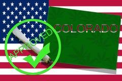 大麻背景的科罗拉多 药物政策 大麻的合法化在美国旗子的, 皇族释放例证