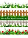 大绿草无缝的集合 库存图片