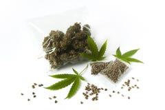 大麻marijunana医学药量袋子未加工的种子绿色离开 库存图片