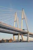 大Obukhovsky桥梁(缆绳被停留) 库存照片