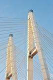大Obukhovsky桥梁(缆绳被停留) 图库摄影