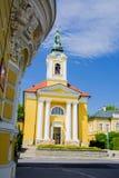 天主教会在小西部漂泊温泉镇Frantiskovy Lazne Franzensbad -捷克 免版税图库摄影