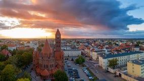 天主教共同大教堂St StanisÅ 'aw Biskupa受难者在奥斯特罗维茨,波兰 库存图片