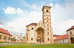 天主教大教堂,晨曲Iulia,特兰西瓦尼亚,罗马尼亚 图库摄影