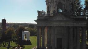 天主教的废墟与石雕象的 影视素材