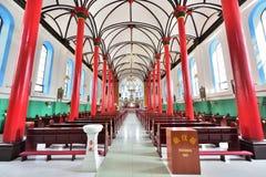 天主教的红色柱子在中国 免版税库存照片