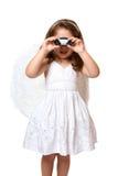 天使双筒望远镜使用 免版税图库摄影