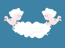 天使和云彩 两个小的天使保留云彩 免版税库存图片