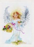 天使和花 库存例证