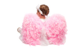 天使回到女孩查出的射击 免版税库存照片