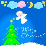天使圣诞灯星形 向量例证