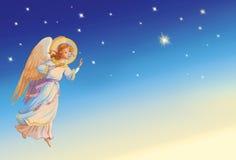 天使圣诞节查出的白色 库存例证
