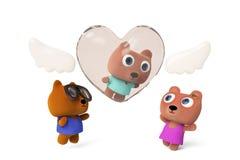 天使在世界3D翻译的熊秋天 免版税库存照片