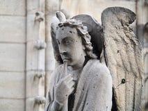 天使在Notre Dame,巴黎,法国屋顶大教堂的喇叭使用  免版税库存图片