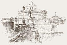 天使城堡剪影 库存照片